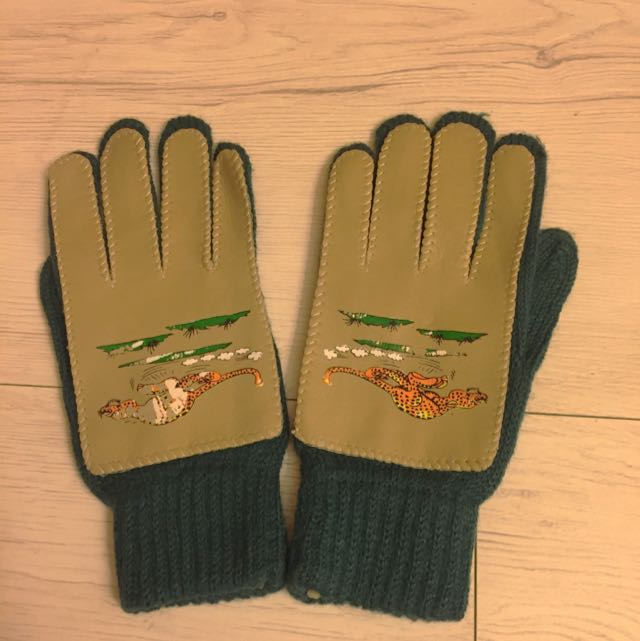 老拼接皮革針織手套