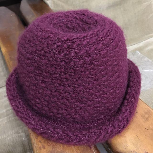酒紅 針織毛帽