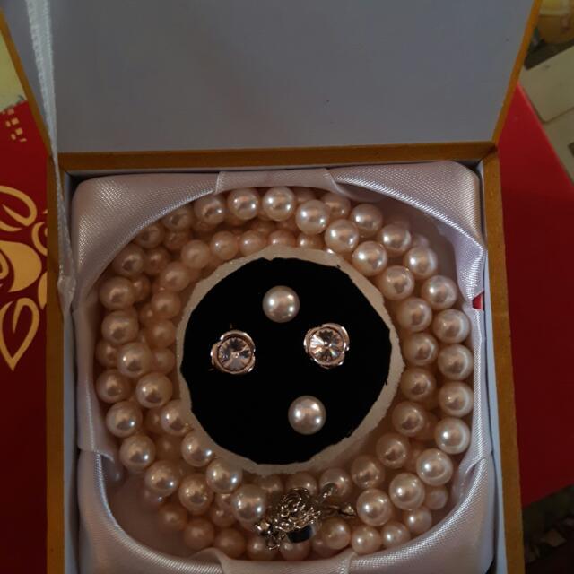 天然珍珠項鍊 買一組送一組