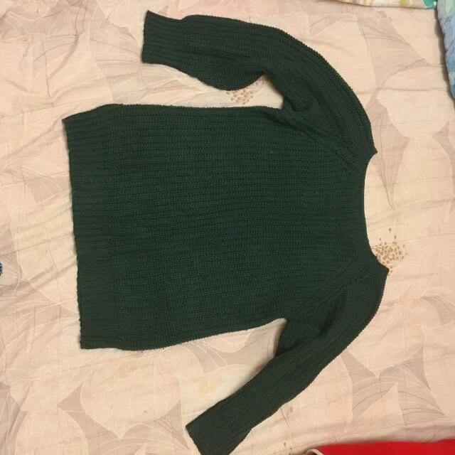 墨綠色 針織毛衣 (送)