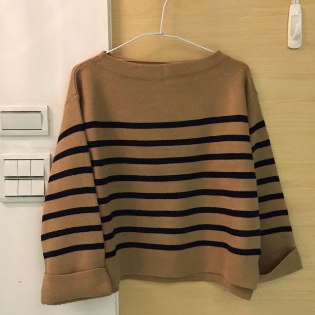 含運 GU全新橫條寬袖毛衣