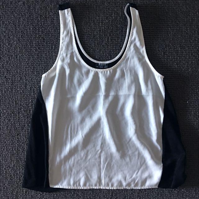 Bardot White & Black Top Size 8