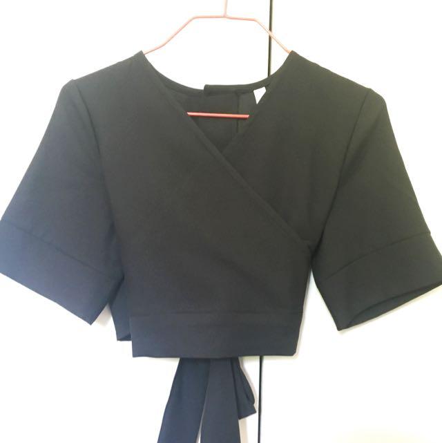 Black Kimono Style Crop Top