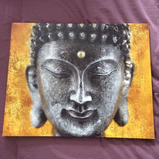 Buddhist / Gautama Yellow Painting / Canvas
