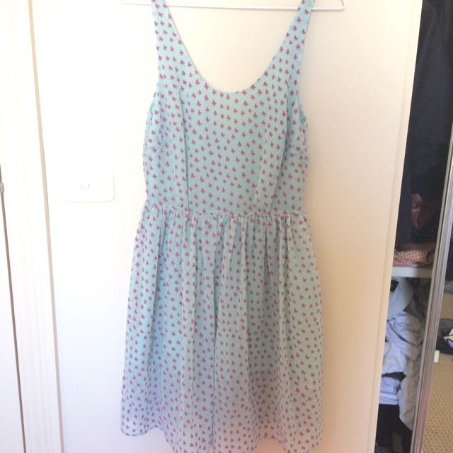 Butterfly Print Dress With Back Detail Size 8