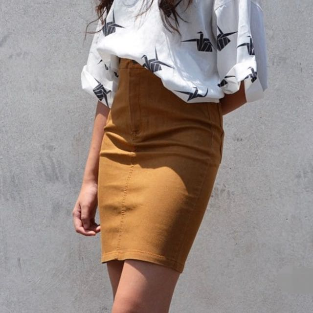 Camel Colour Skirt, Women's Fashion, Clothes, Pants, Jeans
