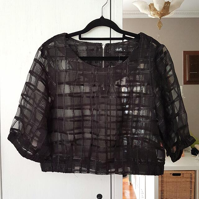 Dotti Sheer Grid Overlay Blouse