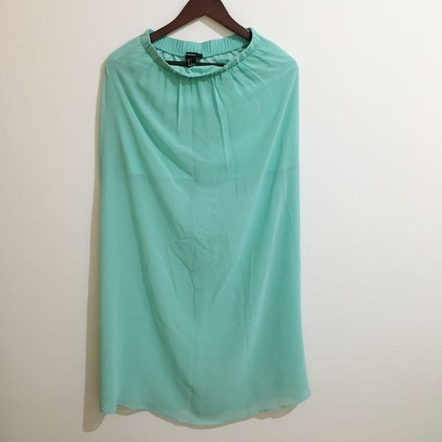 [Repriced!] Forever 21 - High Low Sky Blue Maxi Skirt