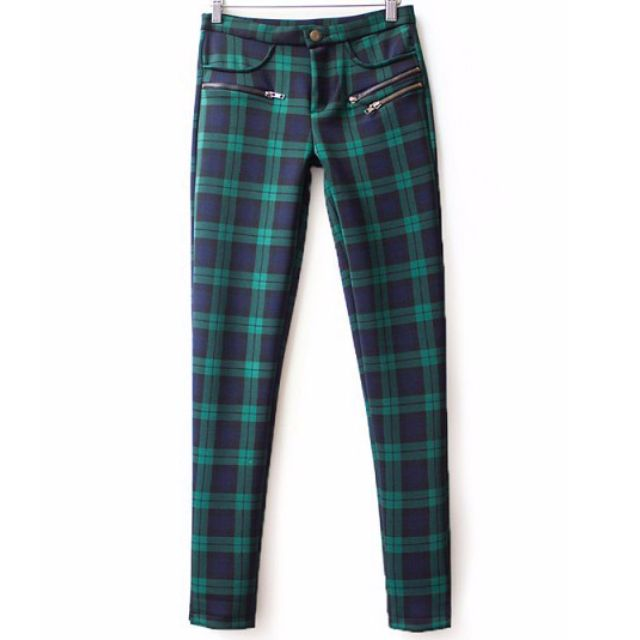 Green plaid highwaist pants