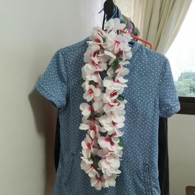 Hawaiian inspired Ley (plastic flower garland)