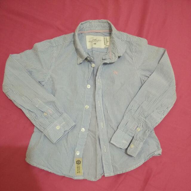 H&M 110~120cm女童藍白條紋襯衫