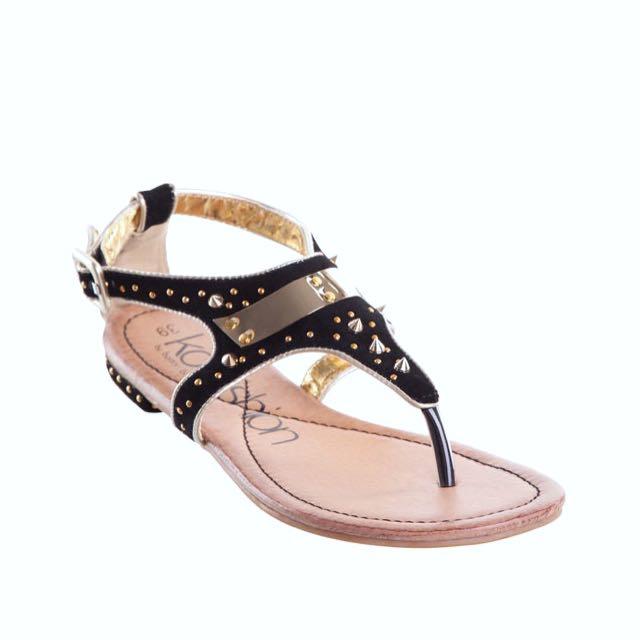 New KO Fashion Leather Black Gold Sandals