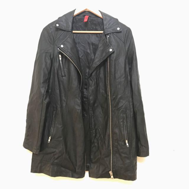 Long Faux Leather Jacket