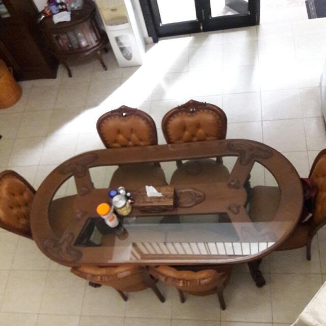 Meja Makan Jati 6 Seaters