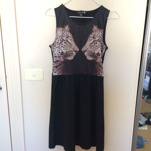 Mirrored Leopard Dress Black XS