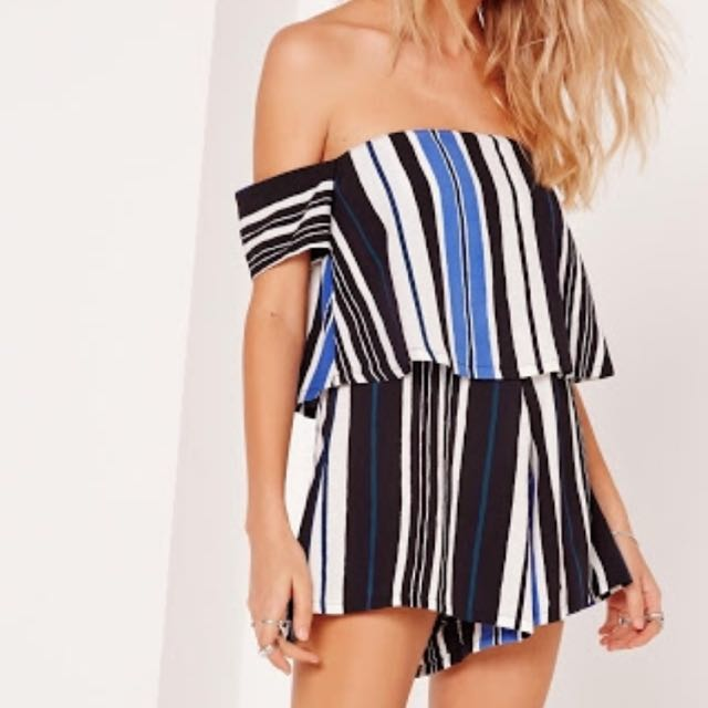 Missguided Striped Bardot Cobalt Playsuit