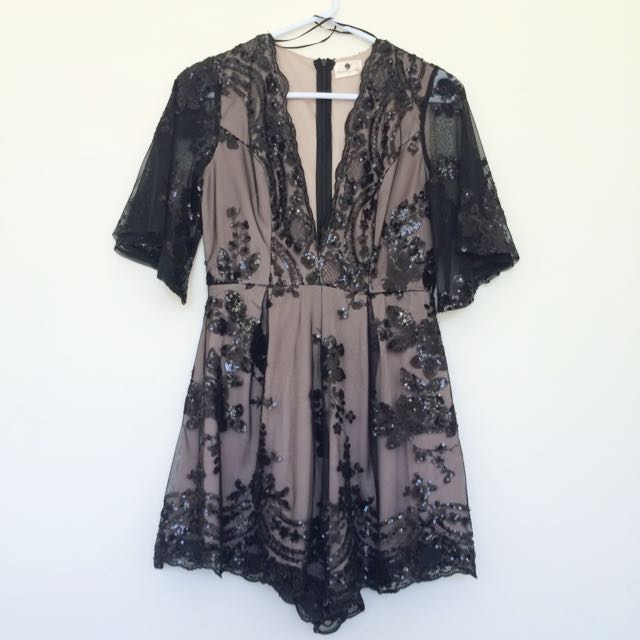 Morning Mist Sequin Lace Playsuit