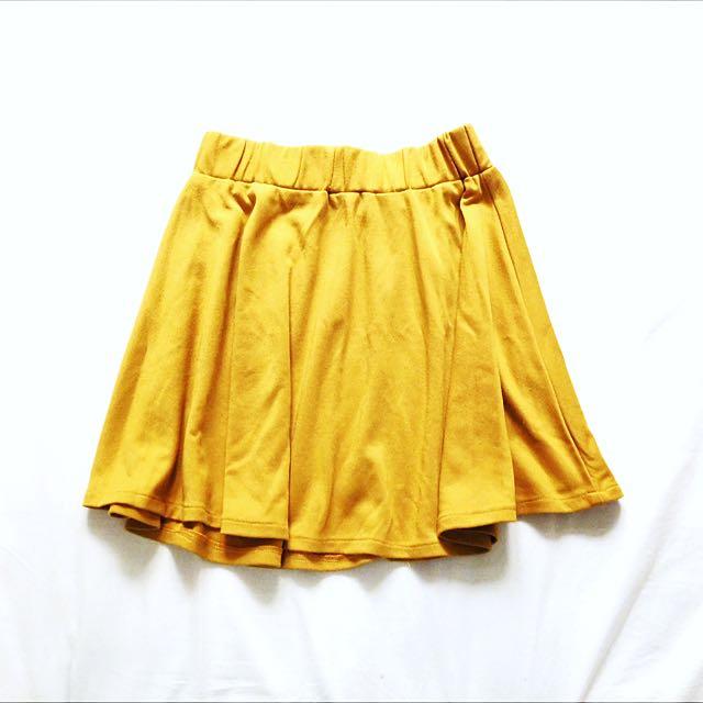 Mustard Mini Skater Skirt