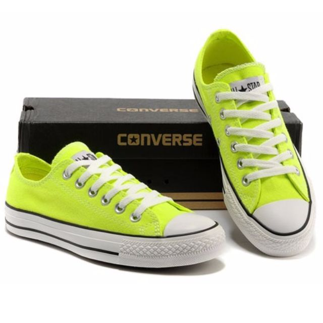 2f9d69916de2 Neon Green Converse Low Top Chuck Taylor All Star Shoes (with box ...