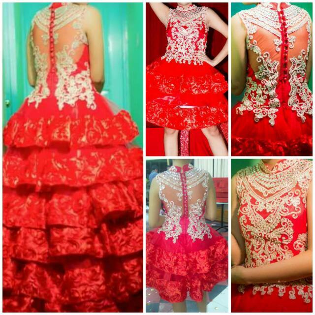 detachable red  elegant gown