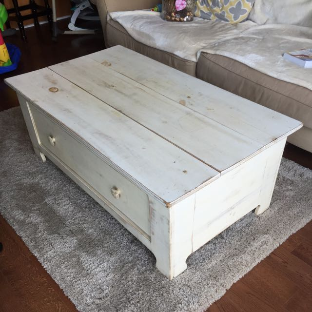 Rustic Wood Coffer Table