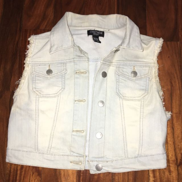 Sleeveless Denim Jacket: Light Wash