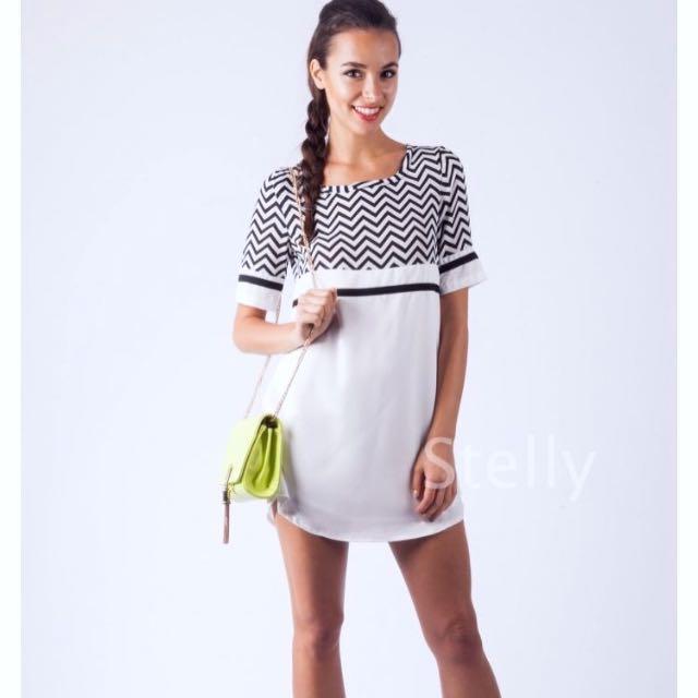 Stelly Black & White Tshirt Dress Size 8