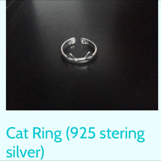 Stirling Silver Cat Ring