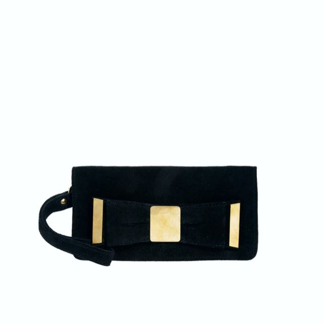 ASOS Suede Leather Small Black Evening Bag