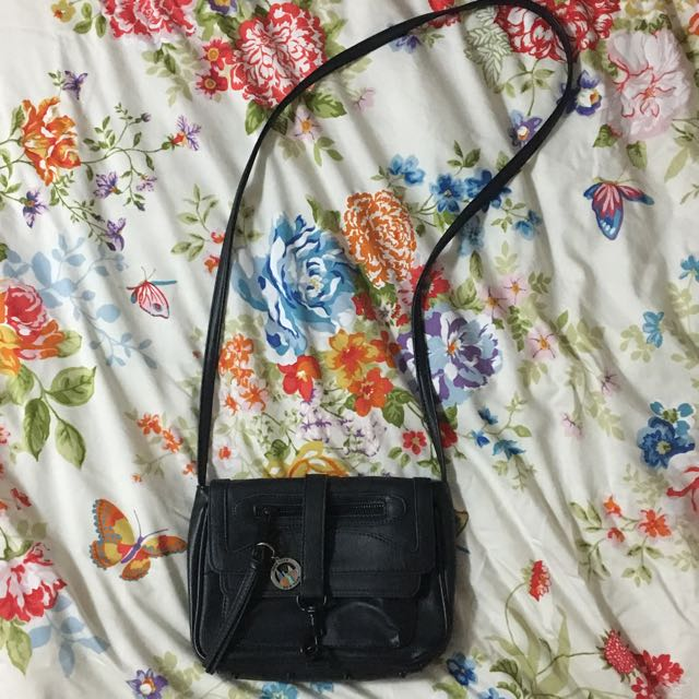 Topshop Black Leather Over The Shoulder Bag