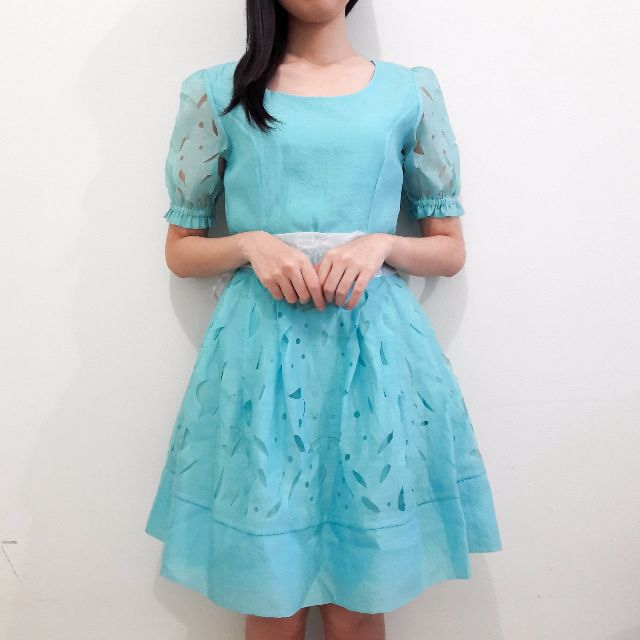 Turquoise Laser-cut Party Dress