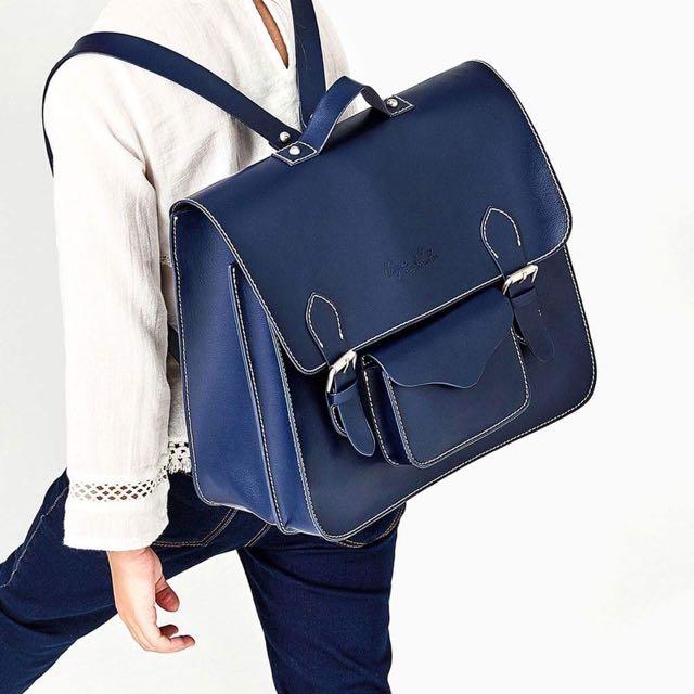 Zara 後背包 口袋設計背包 書包 藍色 深藍