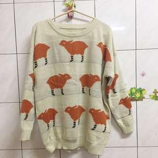 溫暖橘色兔子針織毛衣