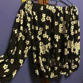 BN Off Shoulder Black Floral