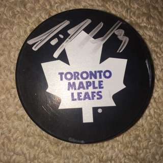 Signed Dion Phaneuf NHL Hockey Puck