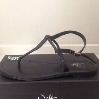 Wittner - Size 38 - Skinny Black All-Leather Sandals