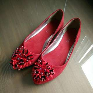 Red Flats Size 36