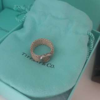 2nd Hand Authentic Tiffany & Co Mesh Ring With Heart Sz 6