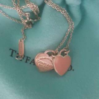 2nd Hand Authentic Tiffany & Co RETURN TO TIFFANY Mini Double Heart Pendant Tag Necklace (Pink Enamel Heart)