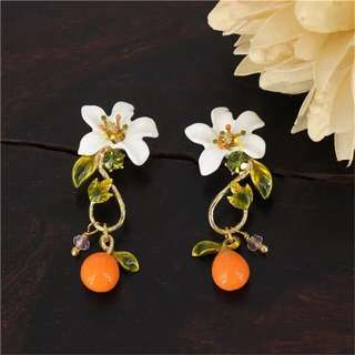LES NEREIDES GARDENS IN PROVENCE ORANGE DROP STUD EARRINGS