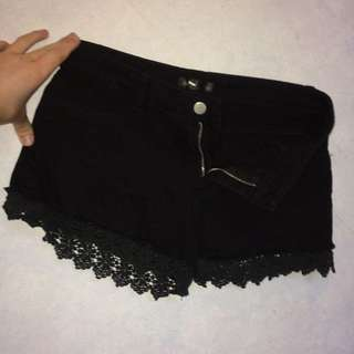 Black Shorts With Lace Trim On The Bottom