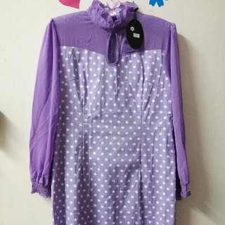 New Purple Polka Dot Dress Size XL