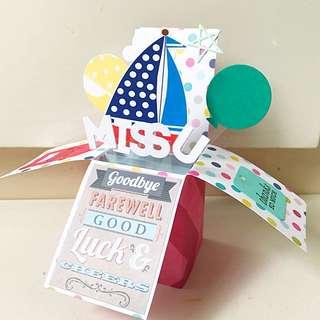 Miss U Good Bye And Farewell Handmade Pop Up Card