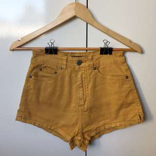 High Waisted Yellow Denim Shorts