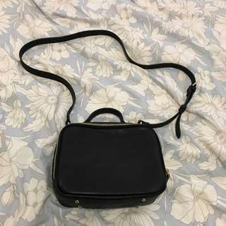 Black Cross body Double Zip Bag