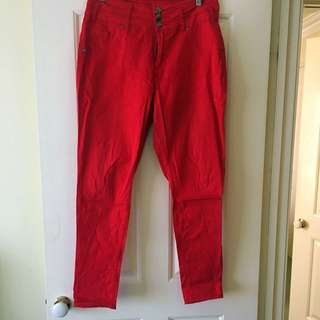 City Chic Red Jeans - Size 16 - Plus Size