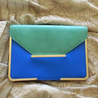 Clutch Bag Blue And Mint Gold Detail