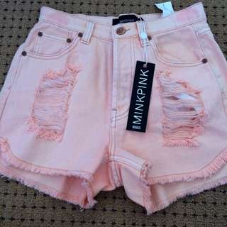 🎉 Minkpink High Waisted Two Tone Pink Shorts Xs 8