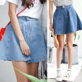 Blue Denim Sweet Casual Korean Look Skirt ( Light . Dark ) - Code H640