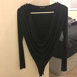 Long Sleeve Scoop Neck Black Bodysuit